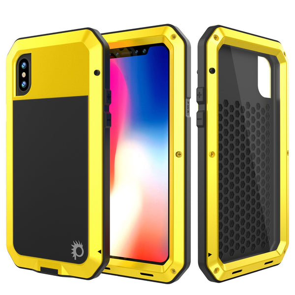 iPhone X Metal Case, Heavy Duty Military Grade Rugged Neon Armor Cover [shock proof] Hybrid Full Body Hard Aluminum & TPU Design