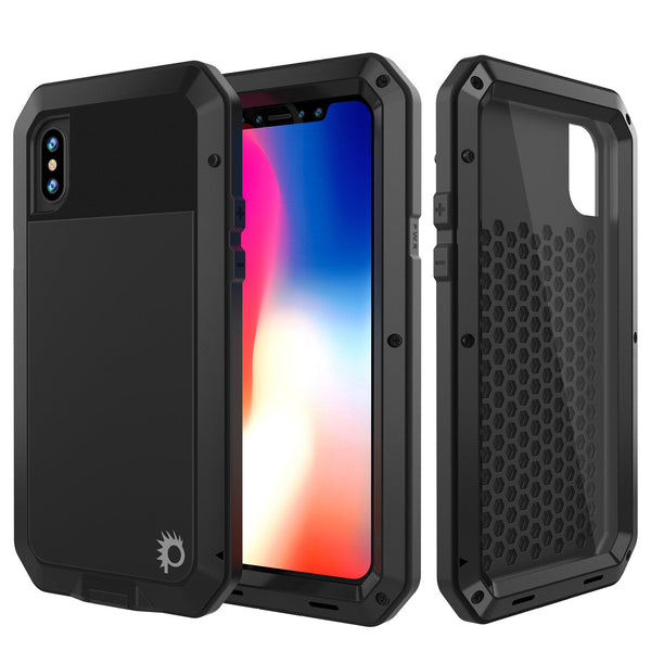 iPhone X Metal Case, Heavy Duty Military Grade Rugged Black Armor Cover [shock proof] Hybrid Full Body Hard Aluminum & TPU Design