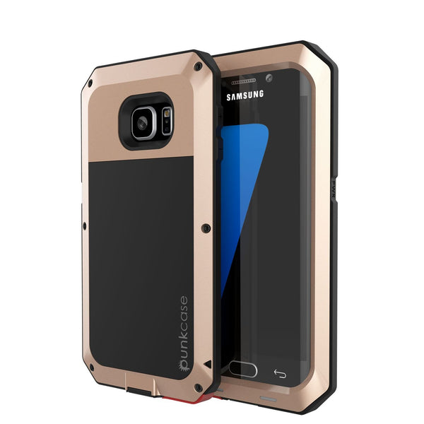 Galaxy S7 EDGE  Case, PUNKcase Metallic Gold Shockproof  Slim Metal Armor Case