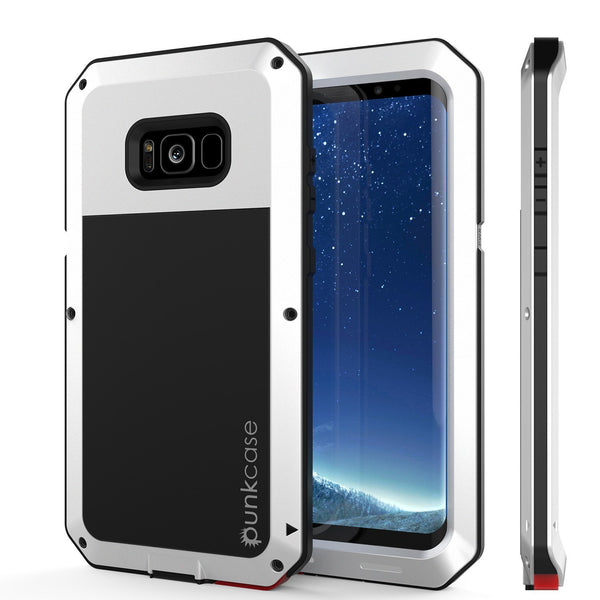 Galaxy Note 8  Case, PUNKcase Metallic White Shockproof  Slim Metal Armor Case