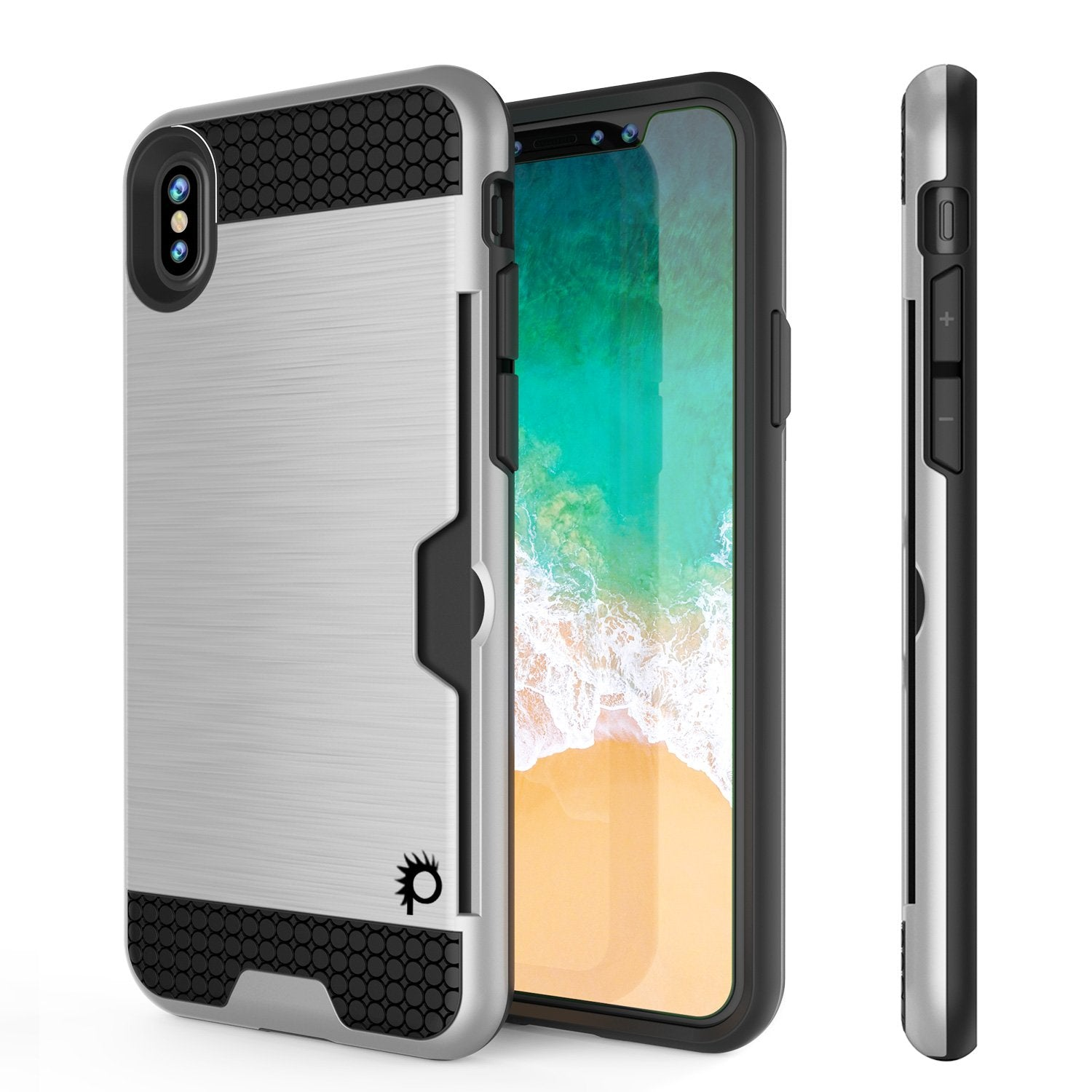 iPhone X Case, PUNKcase [SLOT Series] Slim Fit Dual-Layer Armor Cover [White]
