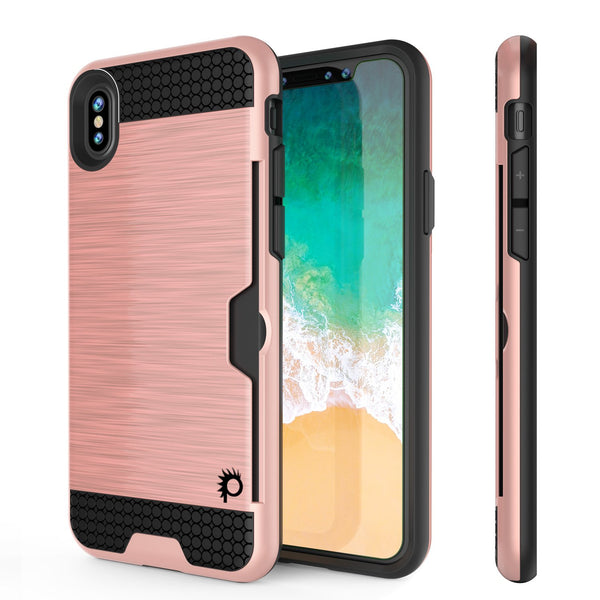 iPhone X Case, PUNKcase [SLOT Series] Slim Fit Dual-Layer Armor Cover [Rose Gold]