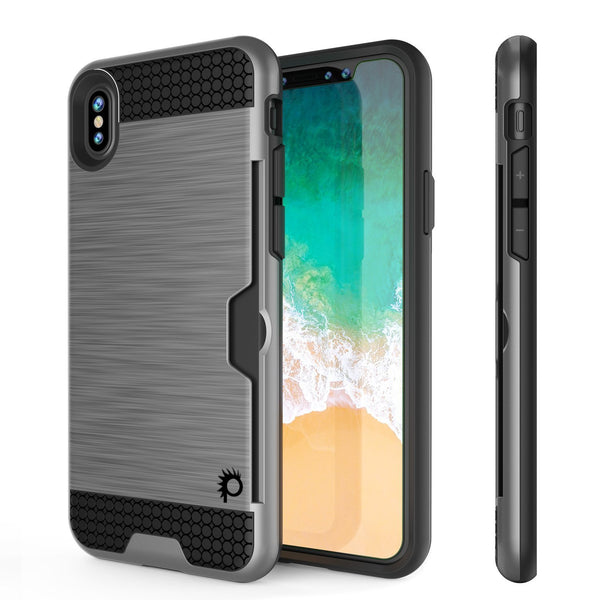 iPhone XR Case, PUNKcase [SLOT Series] Slim Fit Dual-Layer Armor Cover [Silver]