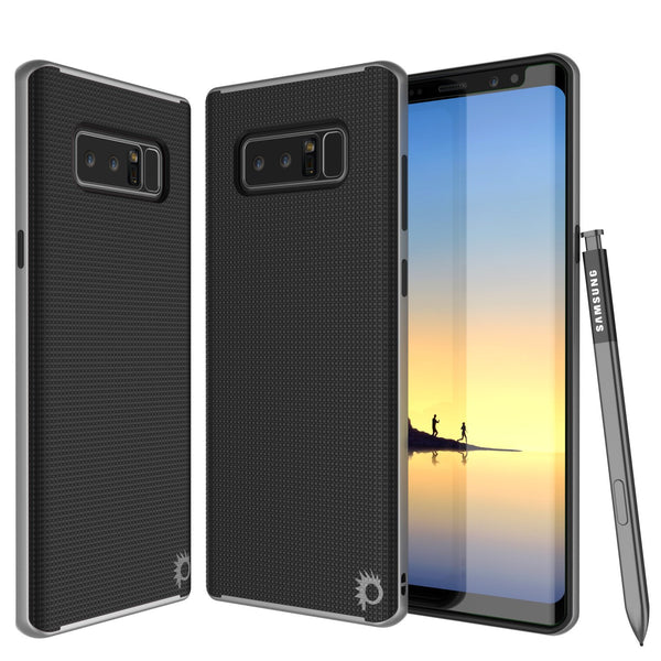 Galaxy Note 8 Case, PunkCase Stealth Silver Series Hybrid 3-Piece Shockproof Dual Layer Cover