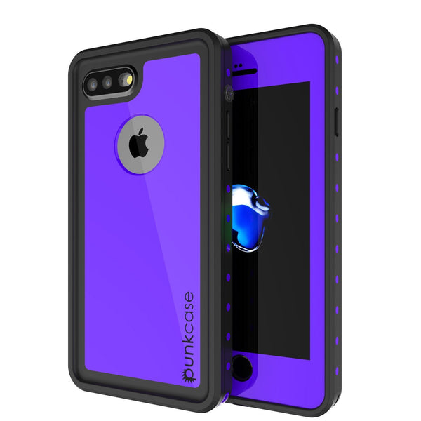 iPhone 8+ Plus Waterproof Case, Punkcase [StudStar] [Purple] [Slim Fit] [IP68 Certified] [Shockproof] [Dirtproof] Armor Cover