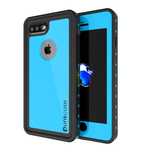 iPhone 8+ Plus Waterproof Case, Punkcase [StudStar] [Light Blue] [Slim Fit] [IP68 Certified] [Shockproof] [Dirtproof] Armor Cover