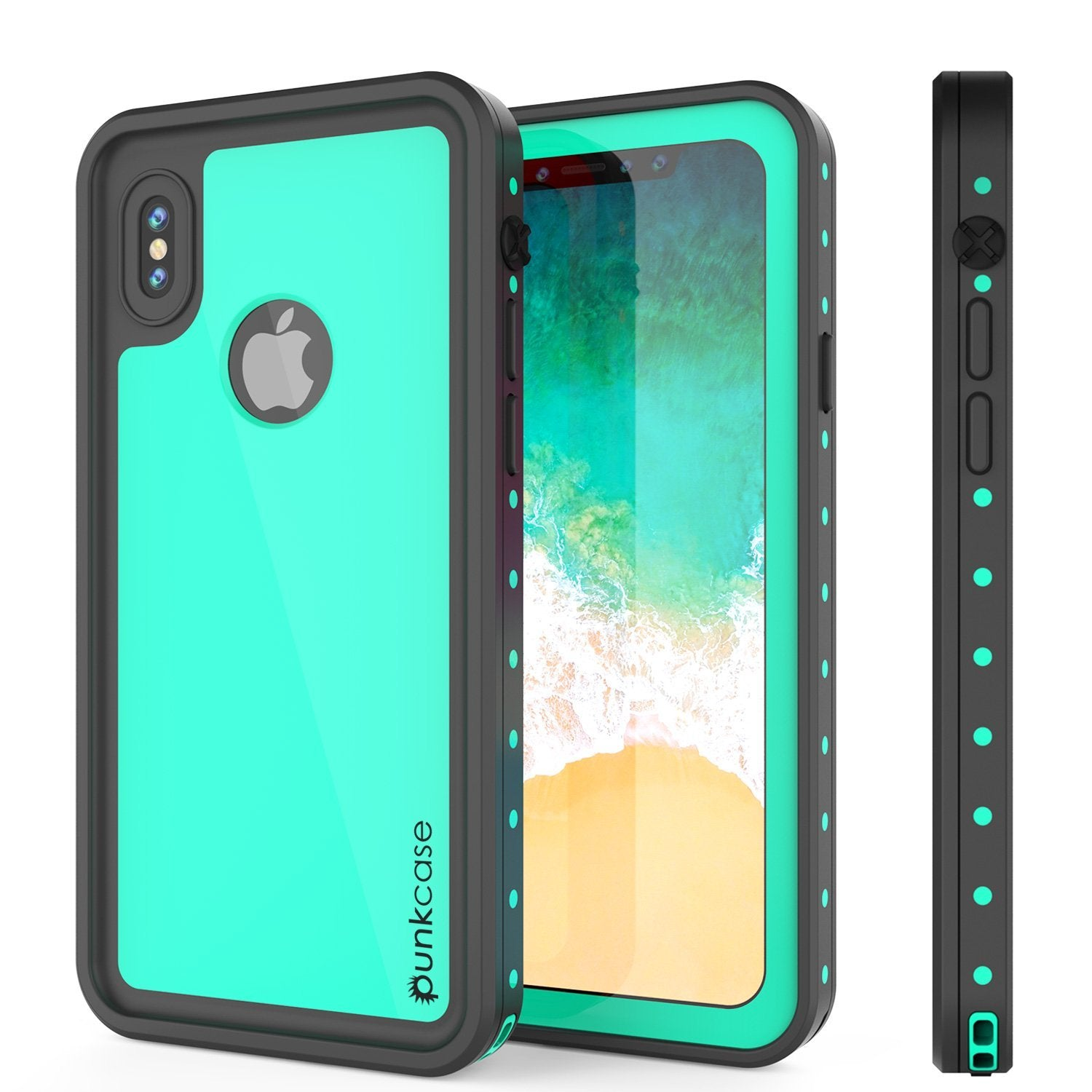 iPhone XS Max Waterproof IP68 Case, Punkcase [Teal] [StudStar Series] [Slim Fit] [Dirtproof]