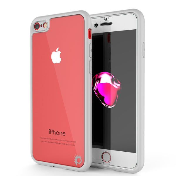 iPhone8 Case [MASK Series] [WHITE] Full Body Hybrid Dual Layer TPU Cover W/ protective Tempered Glass Screen Protector