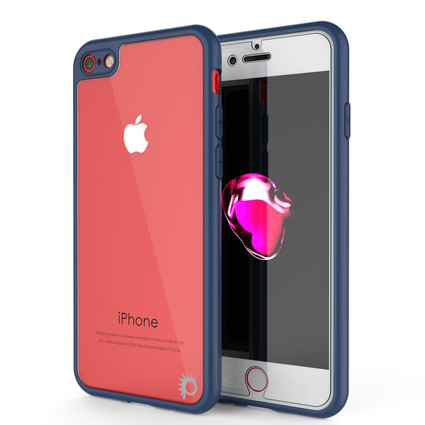 iPhone8 Case [MASK Series] [NAVY] Full Body Hybrid Dual Layer TPU Cover W/ protective Tempered Glass Screen Protector