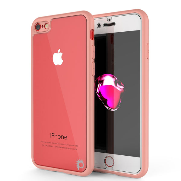 iPhone8 Case [MASK Series] [PINK] Full Body Hybrid Dual Layer TPU Cover W/ protective Tempered Glass Screen Protector