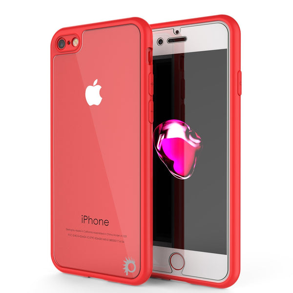 iPhone8 Case [MASK Series] [RED] Full Body Hybrid Dual Layer TPU Cover W/ protective Tempered Glass Screen Protector