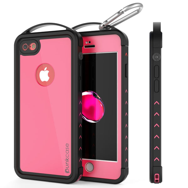 iPhone 8 Waterproof Case, Punkcase ALPINE Series, Pink | Heavy Duty Armor Cover