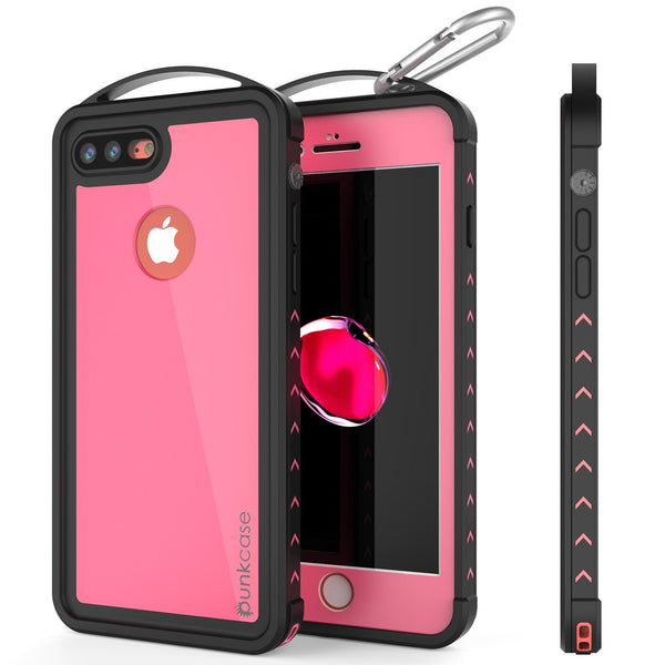 iPhone 8+ Plus Waterproof Case, Punkcase ALPINE Series, Pink | Heavy Duty Armor Cover