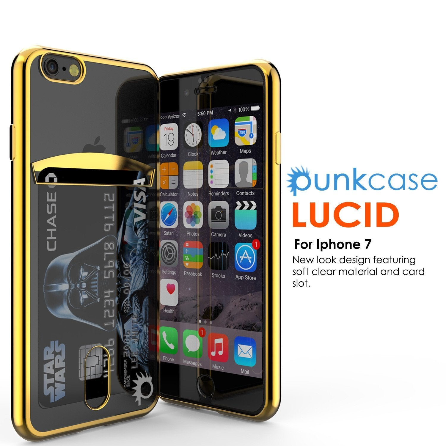 iPhone 8+ Plus Case, PUNKCASE® LUCID Gold Series | Card Slot | SHIELD Screen Protector | Ultra fit