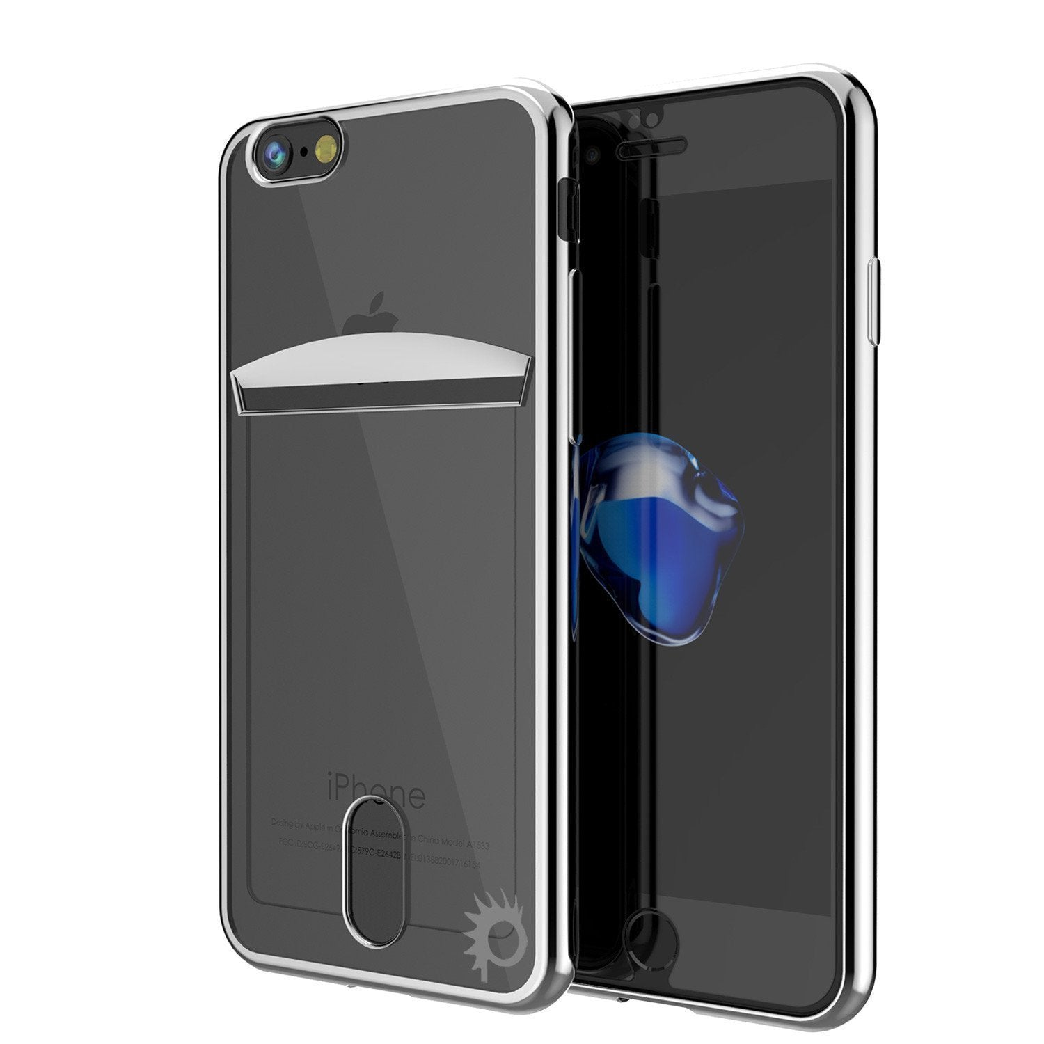 iPhone 8 Case, PUNKCASE® LUCID Silver Series | Card Slot | SHIELD Screen Protector | Ultra fit