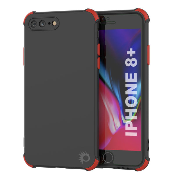 Punkcase Protective & Lightweight TPU Case [Sunshine Series] for iPhone 8+ Plus [Black]