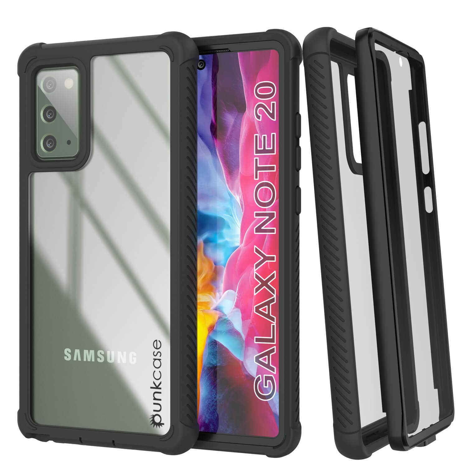 Punkcase Galaxy Note 20 Case, [Spartan Series] Black Rugged Heavy Duty Cover W/Built in Screen Protector