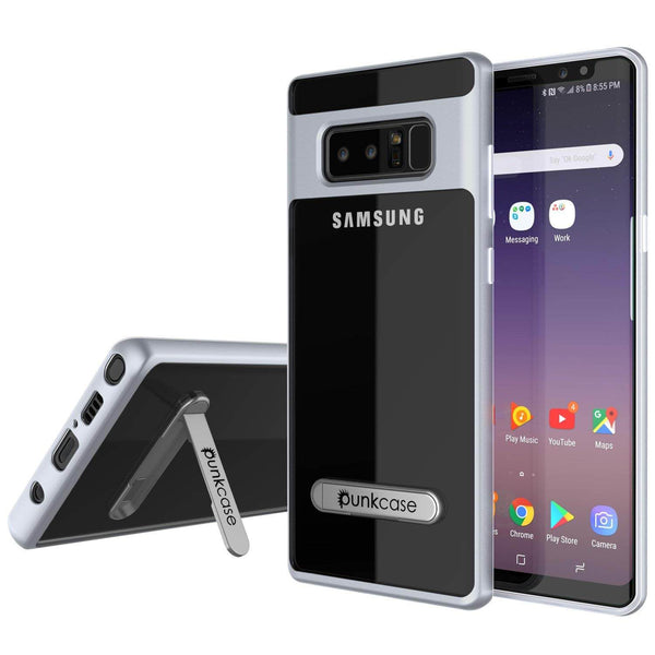 Galaxy Note 8 Case, PUNKcase [LUCID 3.0 Series] Armor Cover w/Integrated Kickstand [Silver]