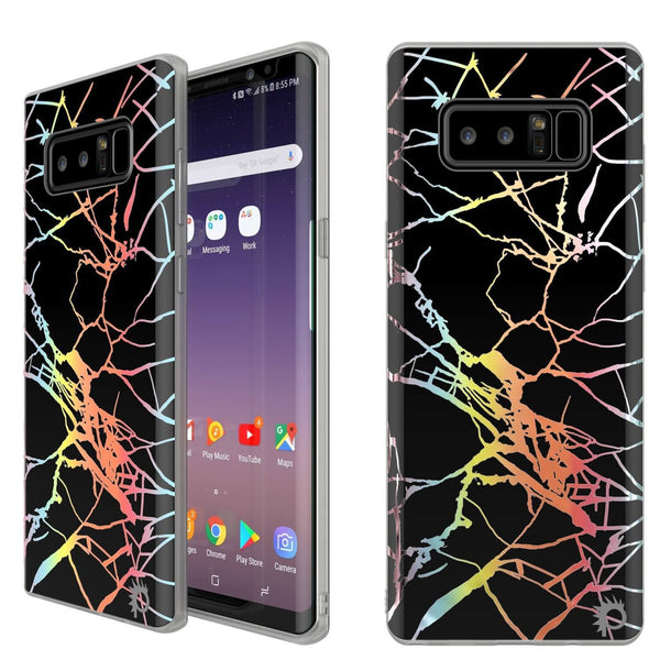 Punkcase Galaxy Note 8 Protective Marble Case | Black Mirage