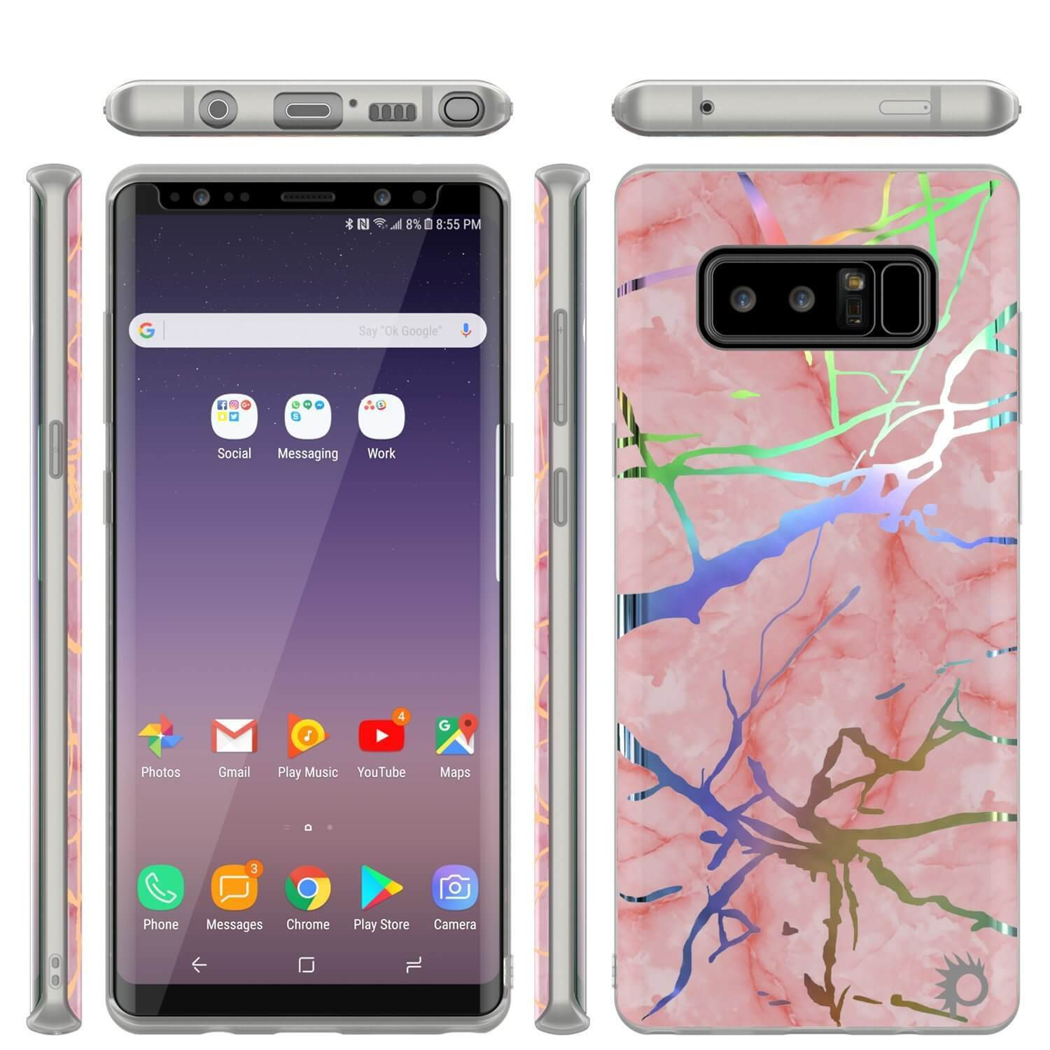 Punkcase Galaxy Note 8 Protective Marble Case | Rose Mirage