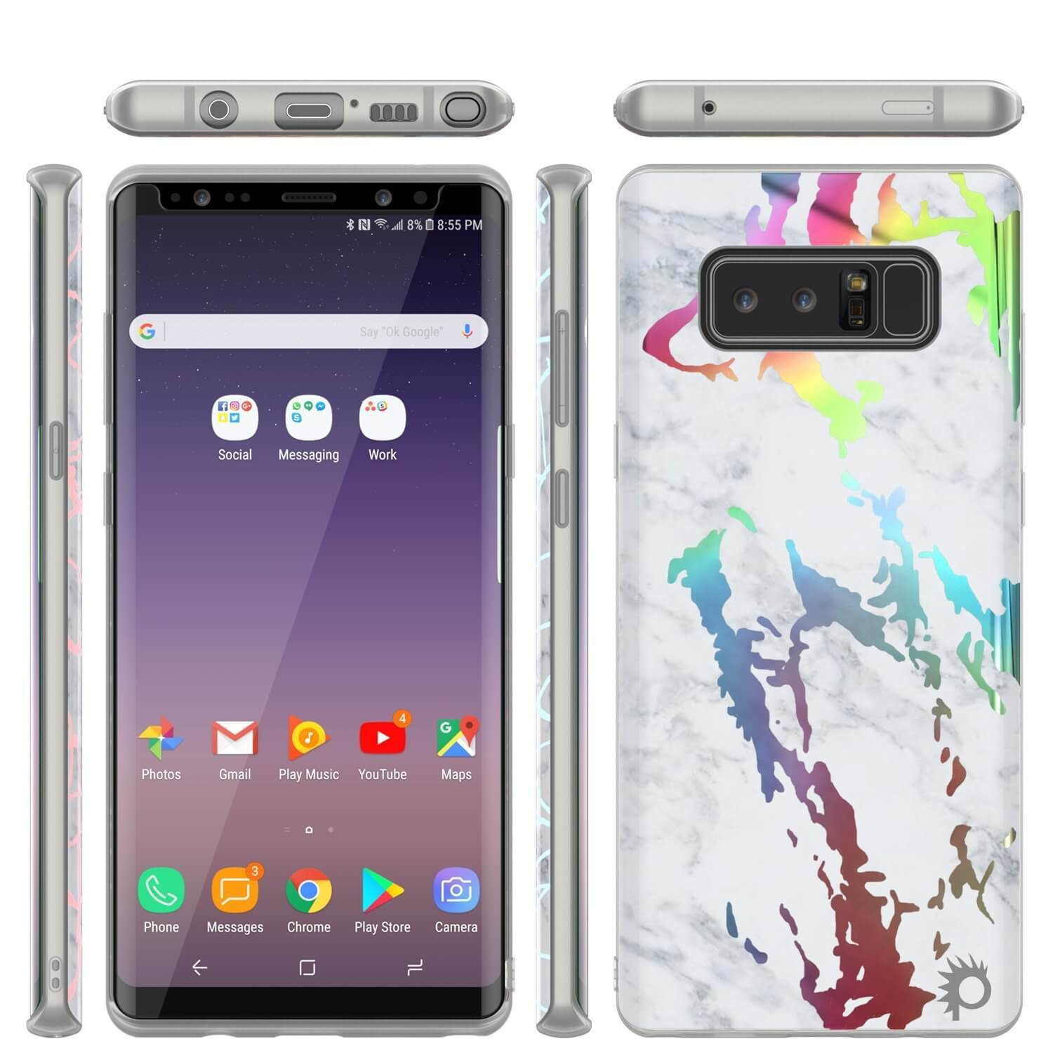 Galaxy Note 9 Full Body W/ Screen Protector Marble Case (Blanco Marmo)