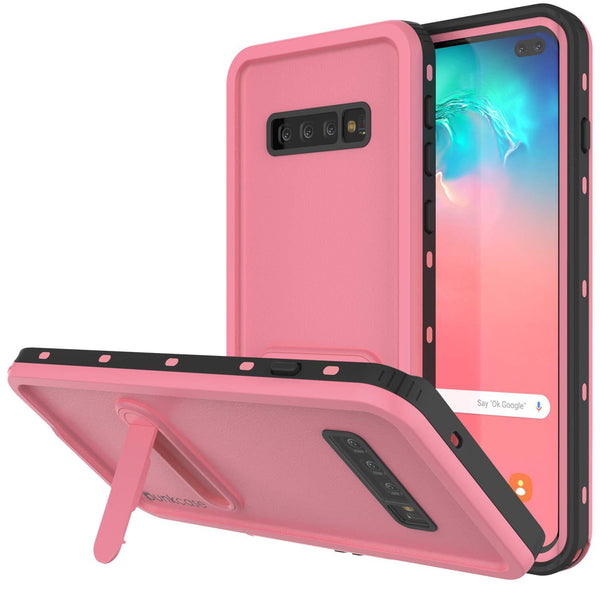 Galaxy S10+ Plus Waterproof Case, Punkcase [KickStud Series] Armor Cover [Pink]