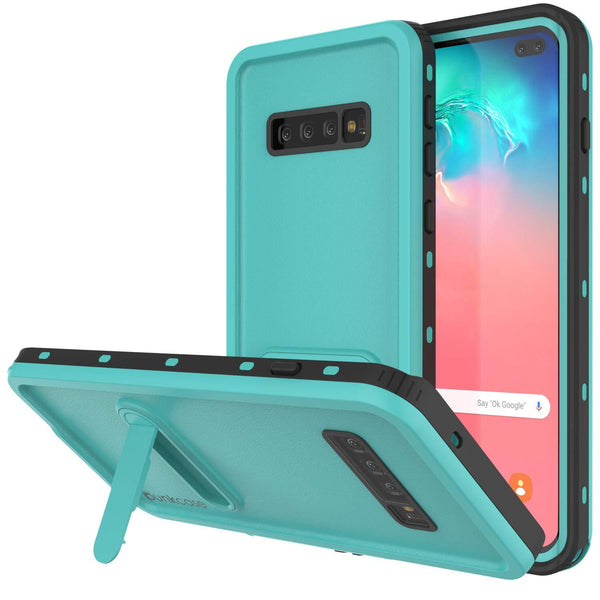 Galaxy S10+ Plus Waterproof Case, Punkcase [KickStud Series] Armor Cover [Teal]