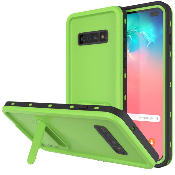 Galaxy S10+ Plus Waterproof Case, Punkcase [KickStud Series] Armor Cover [Light Green]