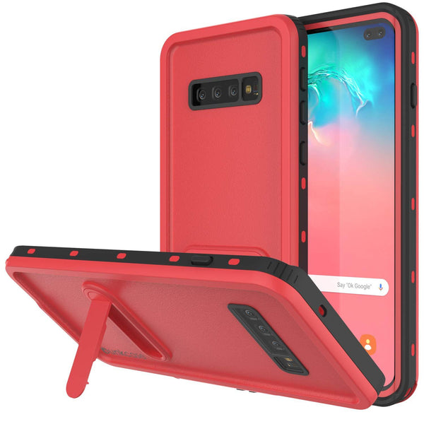 Galaxy S10+ Plus Waterproof Case, Punkcase [KickStud Series] Armor Cover [Red]
