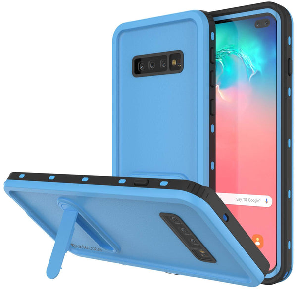 Galaxy S10+ Plus Waterproof Case, Punkcase [KickStud Series] Armor Cover [Light Blue]