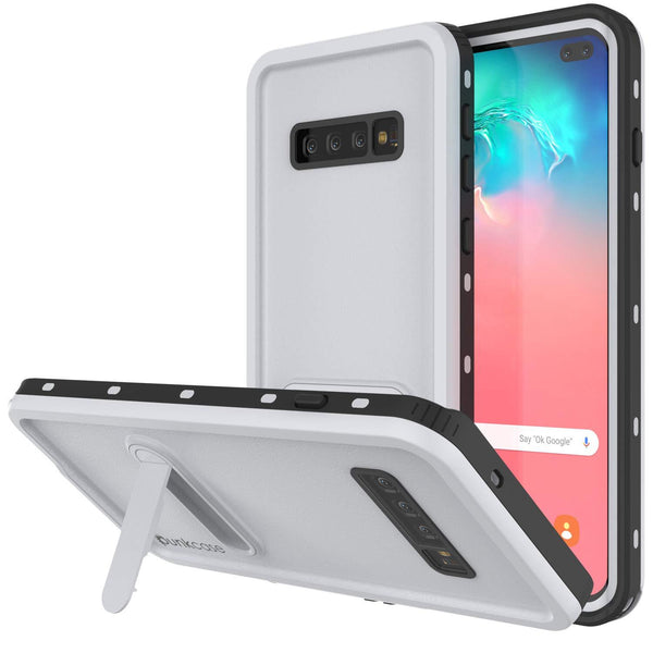 Galaxy S10+ Plus Waterproof Case, Punkcase [KickStud Series] Armor Cover [White]