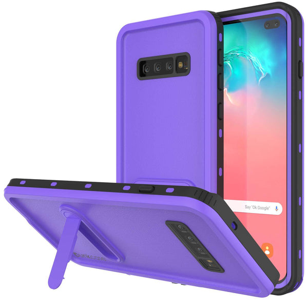 Galaxy S10+ Plus Waterproof Case, Punkcase [KickStud Series] Armor Cover [Purple]