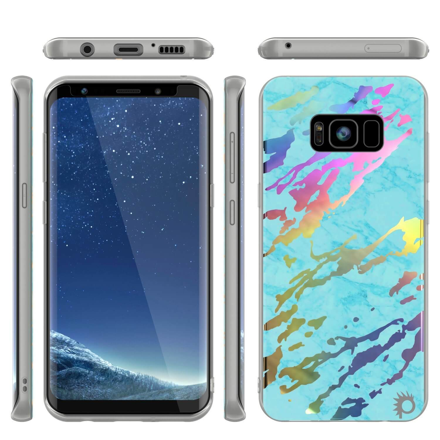 Punkcase Galaxy S8 Protective Full Body Marble Case | Teal Onyx