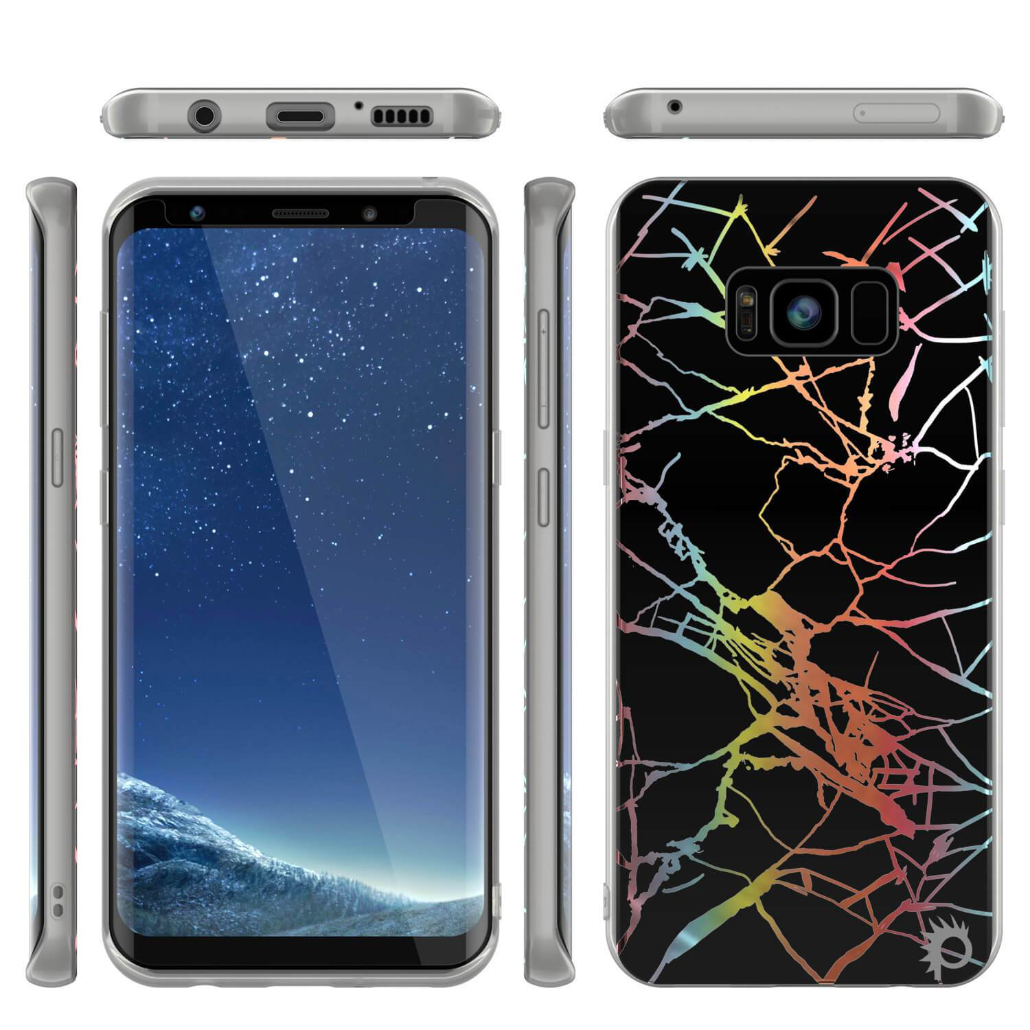 Punkcase Galaxy S8+ Protective Full Body Marble Case | Black Mirage