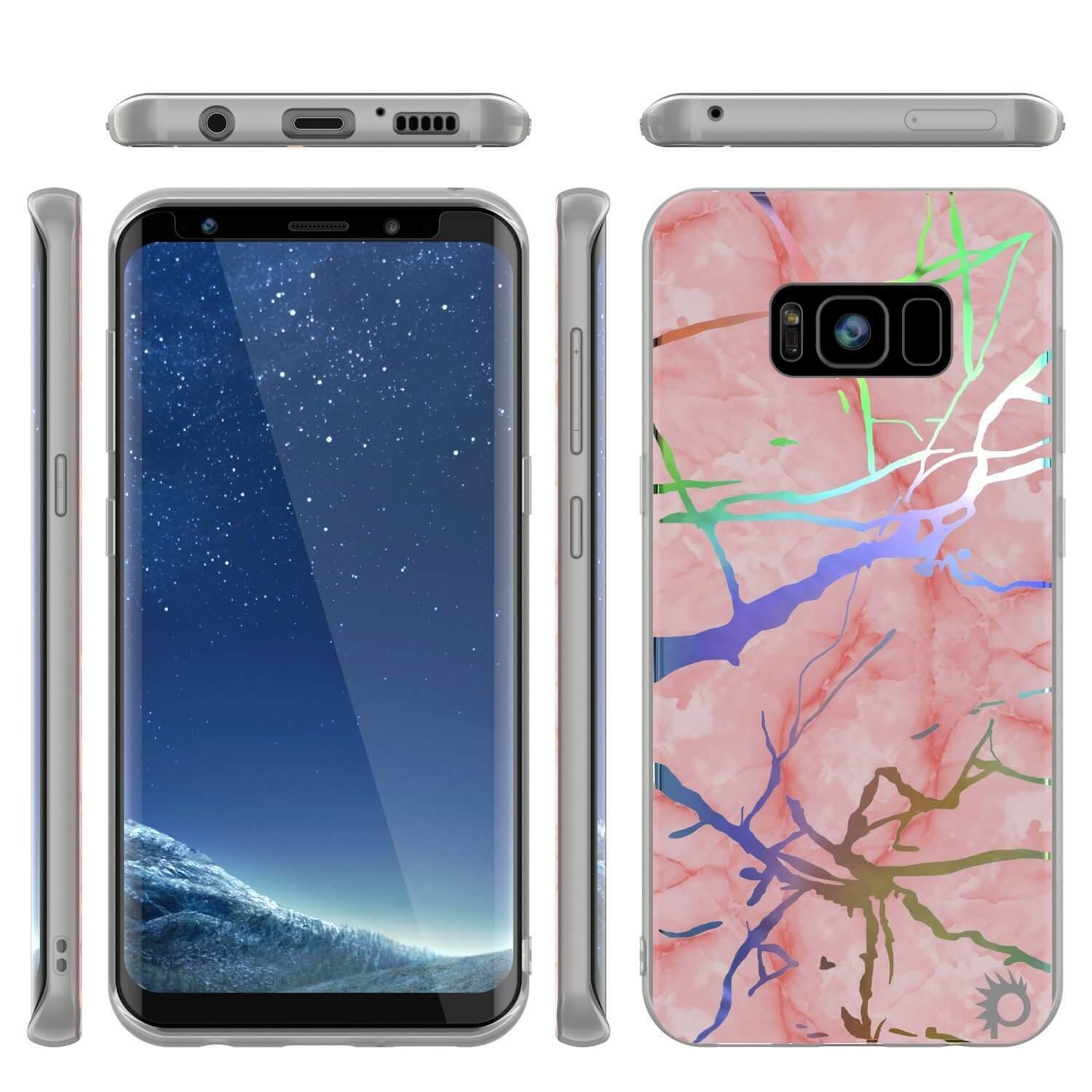 Punkcase Galaxy S8+ Protective Full Body Marble Case | Rose Mirage