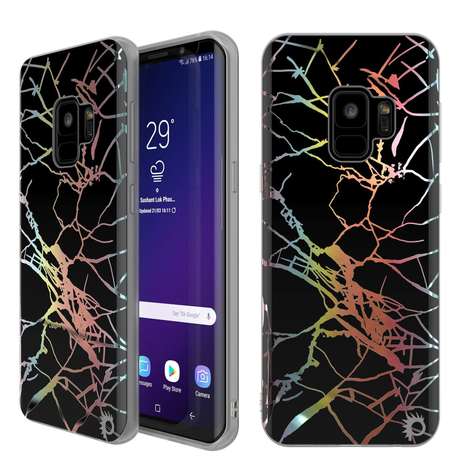 Punkcase Galaxy S9 Protective Full Body Marble Case | Black Mirage