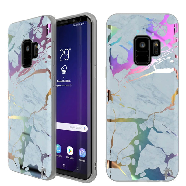 Punkcase Galaxy S9 Protective Full Body Marble Case | Blue Marmo