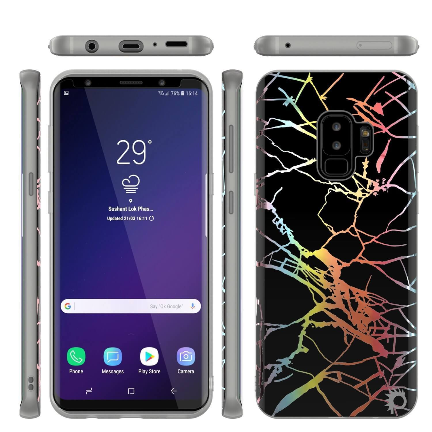 Punkcase Galaxy S9+ Protective Full Body Marble Case | Black Mirage
