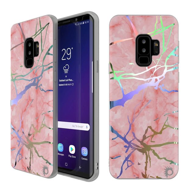 Punkcase Galaxy S9+ Protective Full Body Marble Case | Rose Mirage