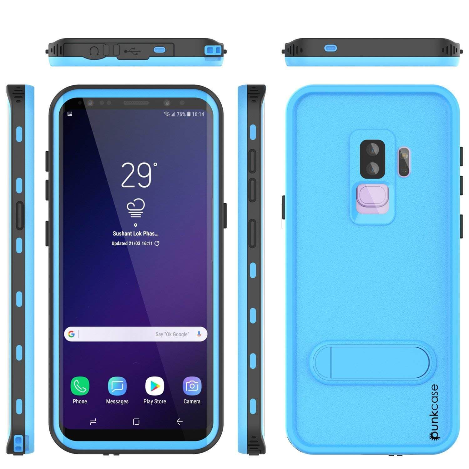 Galaxy S9 Plus Waterproof Case, Punkcase [KickStud Series] Armor Cover [LIGHT BLUE]