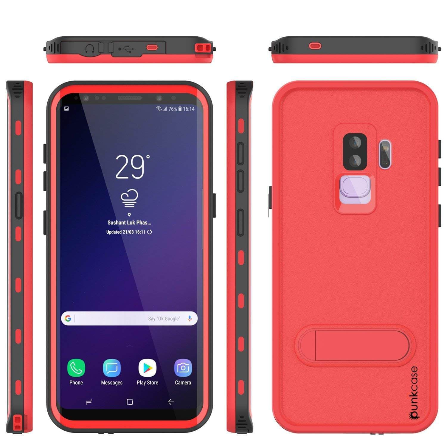 Galaxy S9 Plus Waterproof Case, Punkcase [KickStud Series] Armor Cover [RED]