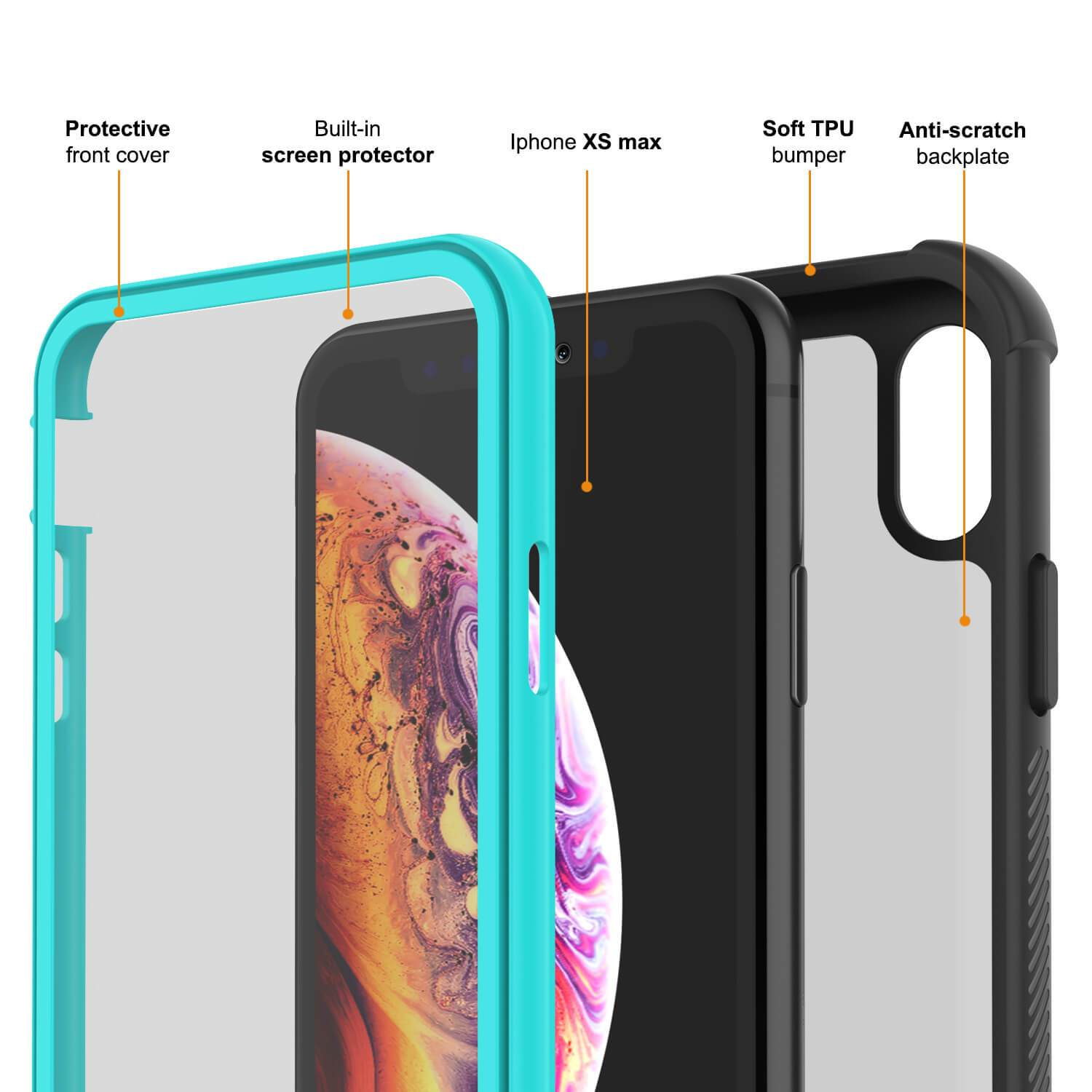 PunkCase iPhone XS Max Case, [Spartan Series] Clear Rugged Heavy Duty Cover W/Built in Screen Protector [Teal]