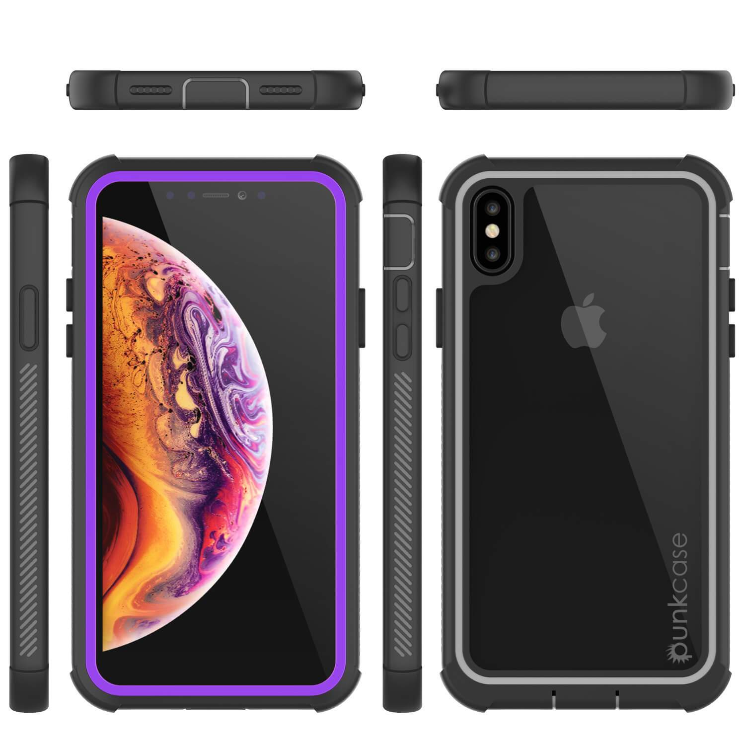 PunkCase iPhone XS Case, [Spartan Series] Clear Rugged Heavy Duty Cover W/Built in Screen Protector [Purple]