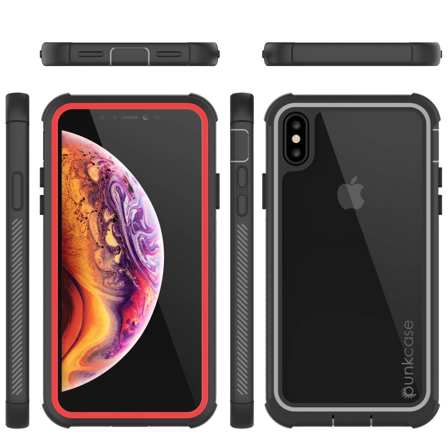 PunkCase iPhone XS Case, [Spartan Series] Clear Rugged Heavy Duty Cover W/Built in Screen Protector [Red]