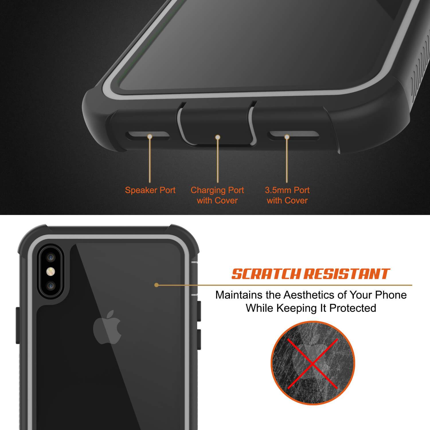 PunkCase iPhone XS Case, [Spartan Series] Clear Rugged Heavy Duty Cover W/Built in Screen Protector [White]