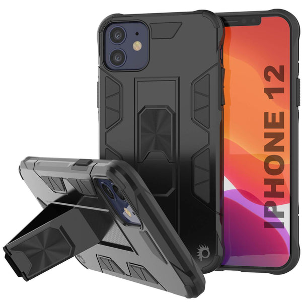 Punkcase iPhone 12 Case [ArmorShield Series] Military Style Protective Dual Layer Case Black
