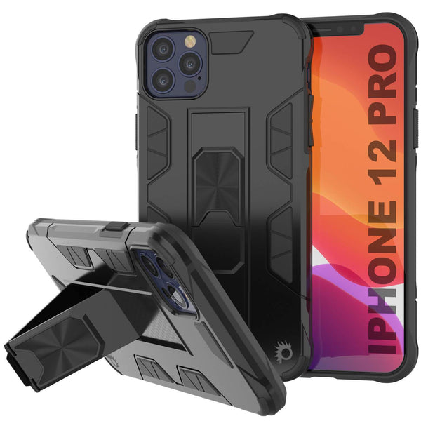 Punkcase iPhone 12 Pro Case [ArmorShield Series] Military Style Protective Dual Layer Case Black