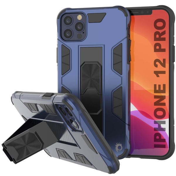 Punkcase iPhone 12 Pro Case [ArmorShield Series] Military Style Protective Dual Layer Case Navy-Blue