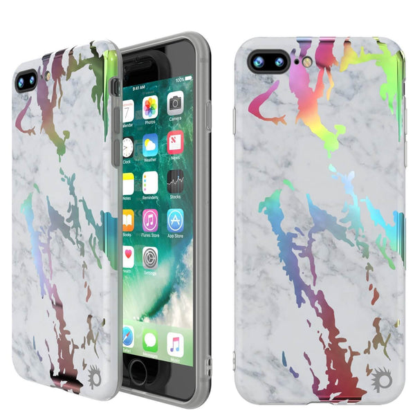 Punkcase iPhone 8+ / 7+ Plus Marble Case, Protective Full Body Cover W/9H Tempered Glass Screen Protector (Blanco Marmo)