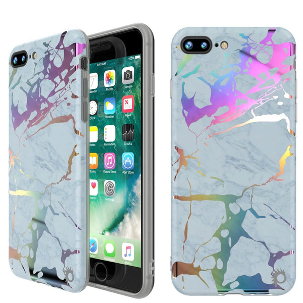 Punkcase iPhone 8+ / 7+ Plus Marble Case, Protective Full Body Cover W/9H Tempered Glass Screen Protector (Blue Marmo)
